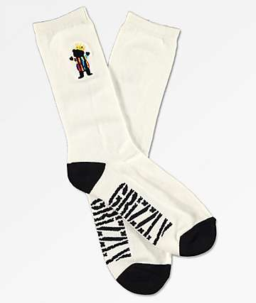 Grizzly Biggie Bear calcetines blancos