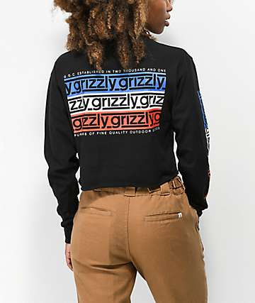 Grizzly Birmingham Black Cropped Long Sleeve T-Shirt
