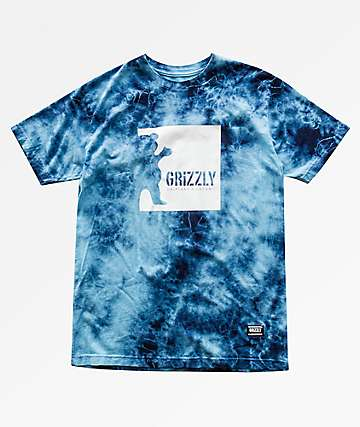 Grizzly Deep Water Blue & White Tie Dye T-Shirt
