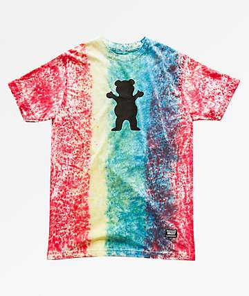 Grizzly IRE Splatter Rainbow Tie Dye T-Shirt