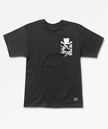 Grizzly Storm Font Pocket Black T-Shirt