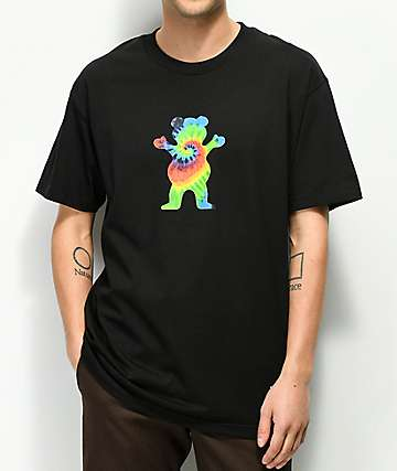 Grizzly Tie Dye Bear Black T-Shirt