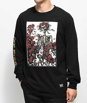 Grizzly x Grateful Dead Skeleton and Roses camiseta negra de manga larga