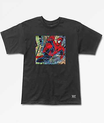 Grizzly x Marvel Aerial Spiderman Black T-Shirt