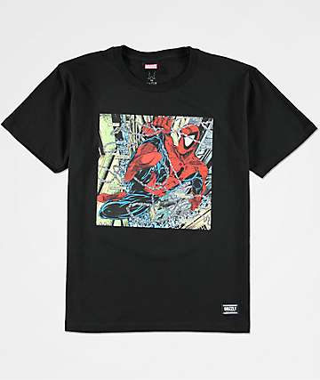 Grizzly x Marvel Boys Spider Aerial Black T-Shirt