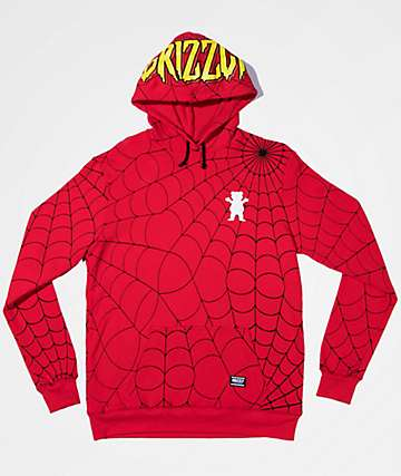 Grizzly x Marvel Webbed Spiderman Red Hoodie