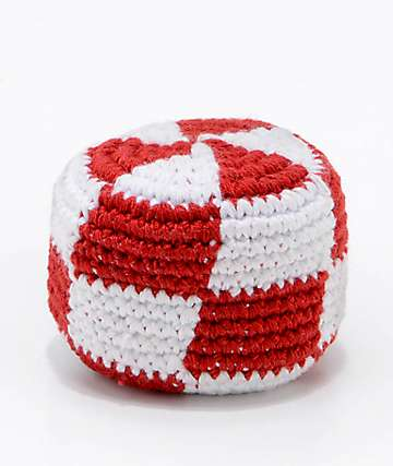 Guatemalart Checkerboard Red & White Hacky Sack