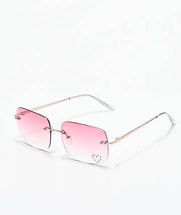 Gwen Pink Gem Rectangle Glasses