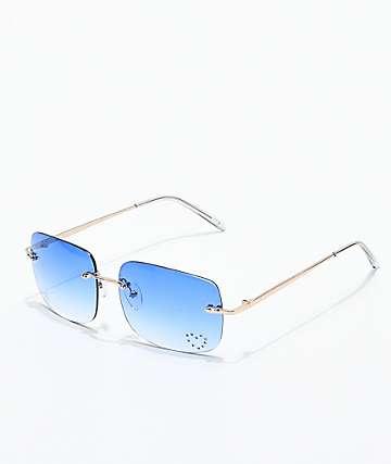 Gwen gafas rectangulares azules con gemas