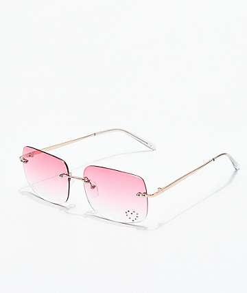 Gwen gafas rectangulares rosas con gemas