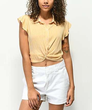H.I.P. Mustard Stripe Short Sleeve Twist Front Button Up Shirt