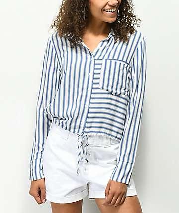 H.I.P. camisa blanca y azul de rayas con detalle ajustable