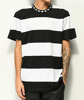 HUF Ace Stripe Black Knit T-Shirt