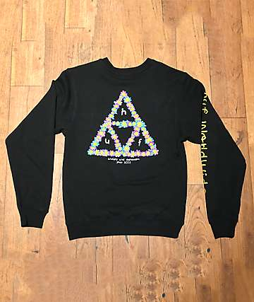 HUF Anxiety & Depression Black Crew Neck Sweatshirt