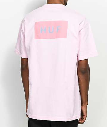 HUF Bar Logo Flock camiseta rosa
