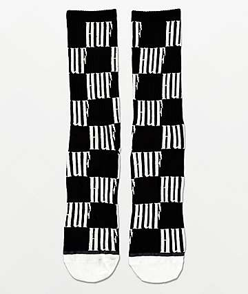 HUF Big Checkered Black Crew Socks