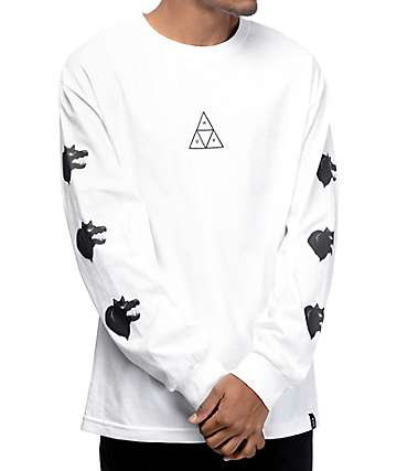 HUF Black Wolf White Long Sleeve T-Shirt