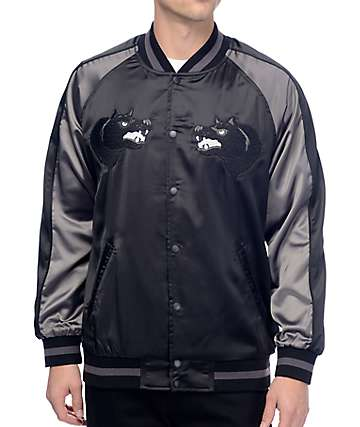 HUF Blackwolf chaqueta souvenir en negro