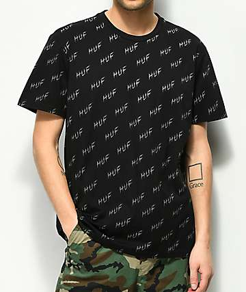 HUF Bolt All Over camiseta negra