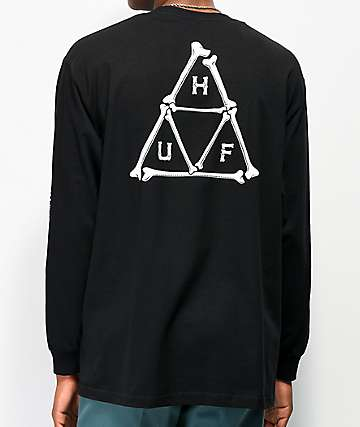 HUF Boned Triple Triangle Black Long Sleeve T-Shirt