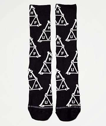 HUF Boner Triangle Black Crew Socks