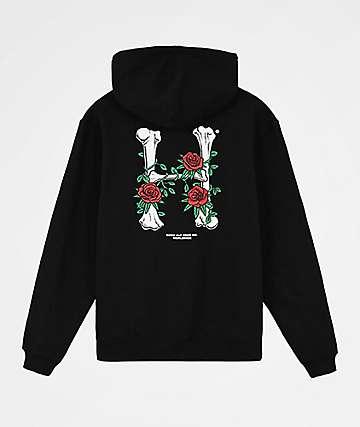 HUF Bones & Roses Black Hoodie