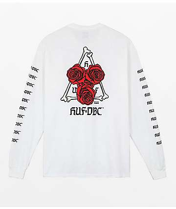 HUF Bones & Roses Triple Triangle White Long Sleeve T-Shirt