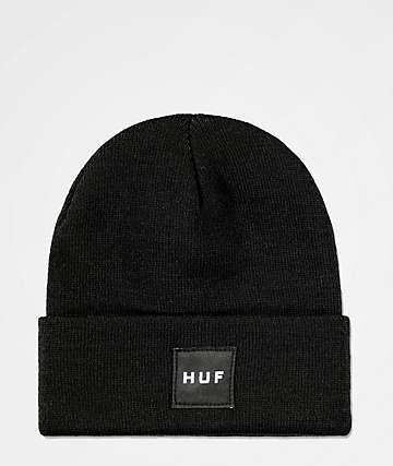 HUF Box Logo Black Fold Beanie