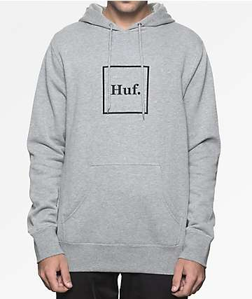 HUF Box Logo Heather Grey Hoodie