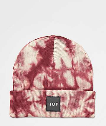 HUF Box Logo Port Red Washed Beanie