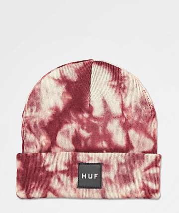HUF Box Logo Port Red Washed Beanie
