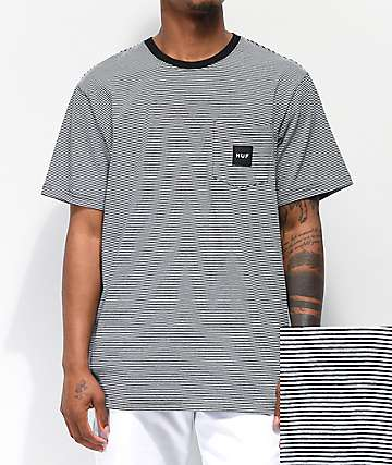 3b5986f3e8 HUF Carson Black Striped Knit Pocket T-Shirt