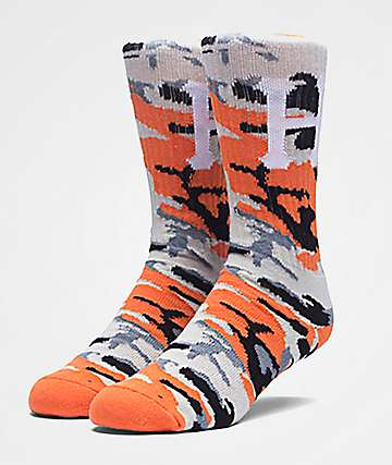 HUF Classic H Orange Camo Crew Socks
