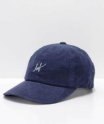 HUF Corduroy Script Midnight Strapback Hat