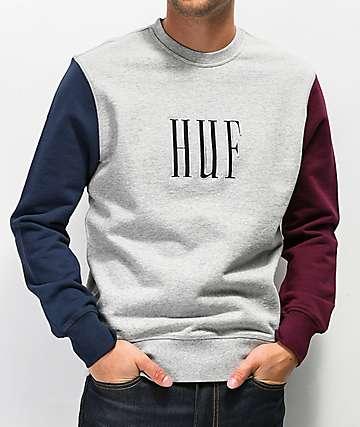 HUF Crevasse Grey Crew Neck Sweatshirt