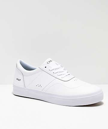 HUF Cromer 2 All White Leather Skate Shoes