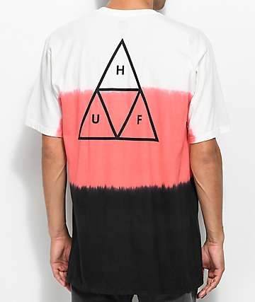 HUF Dip Dye Natural, Pink & Black T-Shirt
