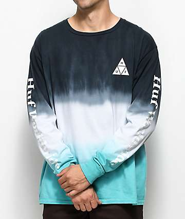 HUF Dip Dyed Aqua & White Long Sleeve T-Shirt