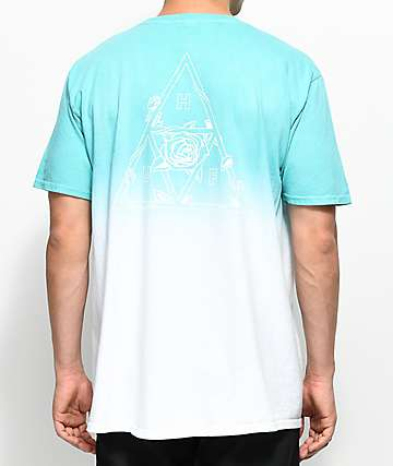 HUF Dip Dyed Aqua & White T-Shirt