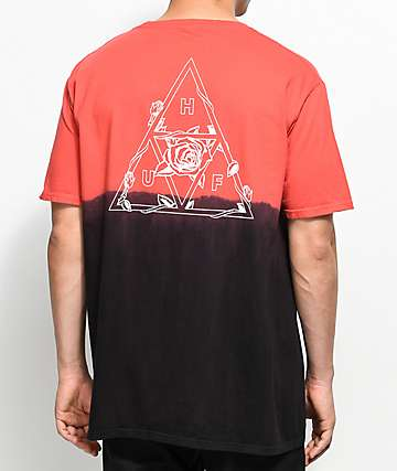 HUF Dip Dyed Black & Red T-Shirt