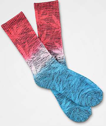 HUF Dip Dyed Plantlife Red & Blue Crew Socks