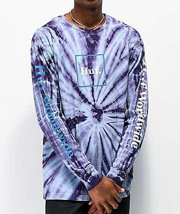 HUF Domestic Purple Tie Dye Long Sleeve T-Shirt