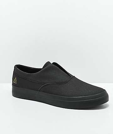 HUF Dylan Slip-On All Black Nubuck Skate Shoes