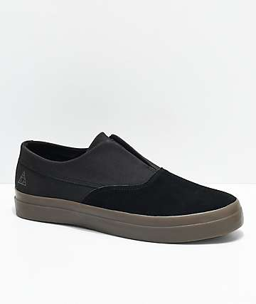HUF Dylan Slip-On Black, Gum, Suede & Canvas Skate Shoes