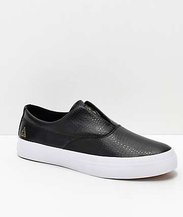 HUF Dylan Slip-On Black & White Debossed Leather Skate Shoes