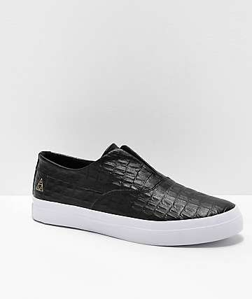 HUF Dylan Slip-On Black Croc Leather Skate Shoes