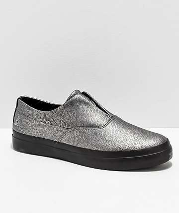 HUF Dylan Slip-On Metallic Silver & Black Leather Skate Shoes