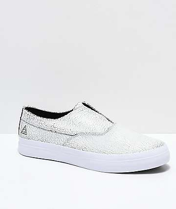HUF Dylan Slip-On White & Black Crackled Skate Shoes