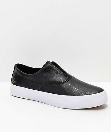 HUF Dylan Slip-On zapatos de skate de cuero en negro y blanco
