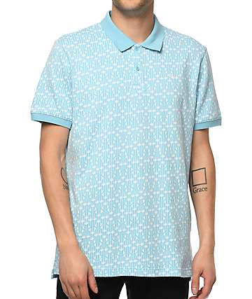 HUF Escher Baby Blue Polo Shirt